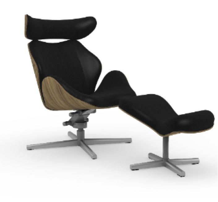 Relaxsessel  Tok Relaxsessel mit Hocker Nussbaum/Leder schwarz Varier
